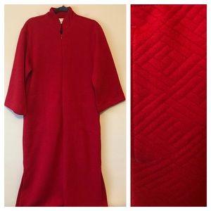 Natori Red Zip-Front Robe